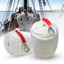 "Twisted Anchor Rope 3/4""x200' Nylon Three Strand w/ Thimble 12592Lb Dock Mooring"