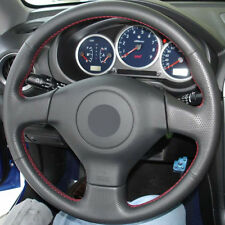DIY Steering Wheel Cover Black Leather Hand Sewing For Subaru Impreza 2004-2005