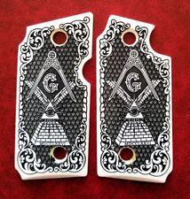 Sig Sauer P238 custom faux ivory grips Mason All Seeing Eye Scroll Checkered