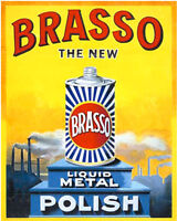 Brasso POlish - VINTAGE ADVERTISING ENAMEL METAL TIN SIGN WALL PLAQUE