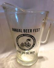 1979 Annual Beer Fest Glass Pitcher. Rockville, Conn. Veteran Firemen's Assoc.
