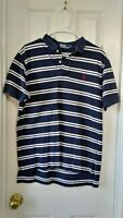 Ralph Lauren Polo men's short sleeve shirt navy with white stripes sz L pique