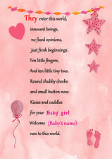 A PERSONALISED POEM FOR THAT SPECIAL NEW BABY GIRL,PRINTED ON A4 CANVAS PAPER.