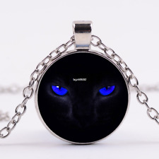 Blue Tiger Eye Photo Cabochon Glass Tibet Silver Pendant Necklace