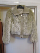 New Look Cream & Brown Faux Fur Fluffy Jacket / Coat in Size 16