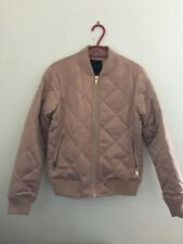 New Look Women's Pink Satin Quilted Bomber Jacket Size 6 Excellent Condition