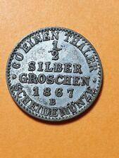Unc 1/2 Silbergroschen 1867 B Brandenburg-Preußen Wilhelm I. 1861-1888.