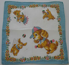 Vintage Childs White Batiste Hankie Puppies Bat Ball Indian Head Dress 1950s*