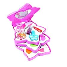 Kids Girls Make Up Kits 3 Tier Case Pink Birthday Party Gifts Set Case Toys
