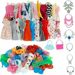 DOLLS SET PIECES BARBIE DOLL CLOTHES SHOES & GLASSES SET AU DRESSES SHOES 32PCS
