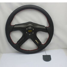 Drift 350mm Suede Leather Deep Dish Steering Wheel + Horn Button Auto Black