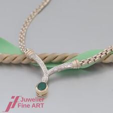 Collier / Kette mit 1 Smaragd + 45 Brillanten(Diamant)-18K/750 Gelbgold/Weißgold