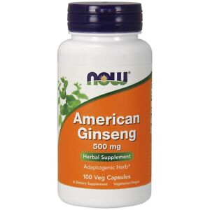 NOW Foods American Ginseng 500 mg 100 Capsules, FRESH, Made In USA
