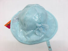 New Kate Mack Aqua Blue Sequin Infant Girls 9-24 M  Sun Hat With Neck Strap