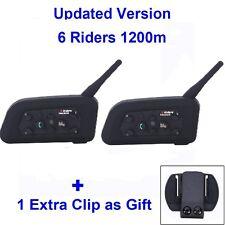 2x 1200M Intercomunicador Bluetooth Interphone Casco Auriculares V6 Moto 6 Rider