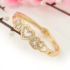 New Lady Fashion Rhinestone Love Heart Gold Plated Bangle Bracelet Jewelry Gift