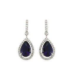 Sapphire Earrings Cluster Drop Sterling Silver Platinum Plated Drops