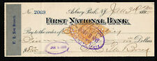 R510 - 1900 FIRST NATIONAL BANK (SIGNED F.L. TEN BROECK) ASBURY PARK, N.Y