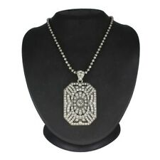 """Beads 28"""" Pendant Necklace $149 Hsn Round Clear Crystal Silver"""