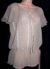 HALLHUBER DONNA 100% PURE SILK EMBROIDERED GYPSY BOHEMIAN STYLE BLOUSE 14UK 42