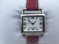 Tommy Hilfiger Women Watch Red Leather Band Silver Tone Case Wrist Watch WR 99ft