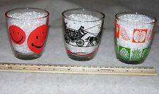 Lot of 3 Sour Cream Tumblers with Smiley Face, Fruit & Stage Coach Designs