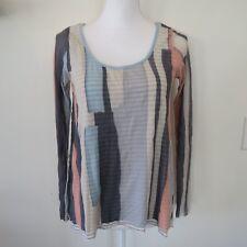 Anthropologie WESTON WEAR Color Block Geometric Print Shirt Nylon Top Size Small