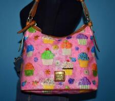 DOONEY & BOURKE Pink CUPCAKES Coated Canvas Leather Hobo Shoulder Purse Bag