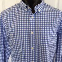 Banana Republic Mens Long Sleeve Shirt Grant Fit Blue White Check Size XL