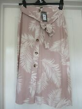 Primark Skirt Pale Pink with Cream Feather Pattern Size 10 BNWT