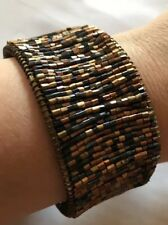 1 1/2� Thick Cuff-Gorgeous-Must See ! New Brass & Earth Tones Bugle Beaded