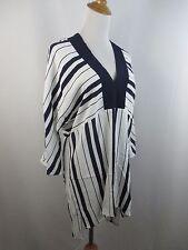 NEW W TAG ZARA WOMAN SZ XS DARK BLUE WHITE STRIPED WIDE LONG SLEEVE SHIRT DRESS