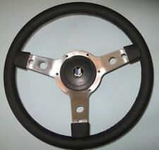 """New 14"""" Leather Steering Wheel & Hub Adaptor Triumph TR4 TR250 TR6 Made in UK"""