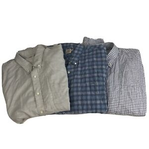 Lot of 3 Mens 2XL Faherty Button Down Long Sleeve Shirt Flannel Blue Gray Plaid