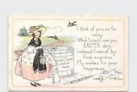 PPC POSTCARD EASTER WHITNEY GIRL BUNNY RABBITS LARGE HAT BOX