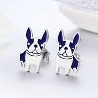 Cute 925 Sterling Silver Gold Plated French Bulldog Puppy Dog Ear Stud Earrings