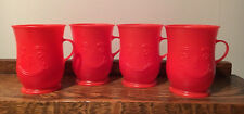 New Listing4 Vtg Red Kool-Aid Mugs Plastic Handled Cups Smiling Face Footed Drinking