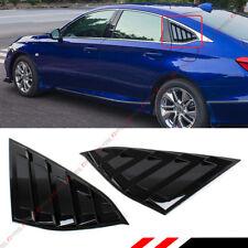 For 2018-2021 Honda Accord Gloss Black 1/4 Quarter Panel Rear Side Window Louver