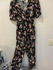 Wild Fable Women's Black Floral Print Short Sleeve Wrap Jumpsuit Size S Pockets