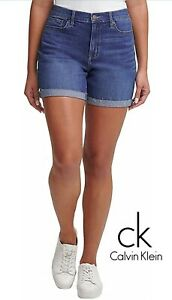 NEW Calvin Klein Jeans Women's Roll Cuff Denim Short Size 10 Mediterranean Color