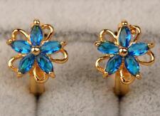 18K Yellow Gold Filled -  Navy Blue Topaz Zircon Flower Clover Gemstone Earrings