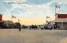 Tijuana Mexico Main Street Scene Horse Carriage Antique Postcard K16929