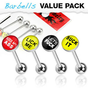 4pc Value Pack Epoxy Dome Bad Word Tongue Rings 14g Tounge Body Jewelry