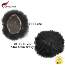 Full Lace Afro Mens Toupee All Lace Afro Curly Hairpieces Jet Black Men Wigs 6mm