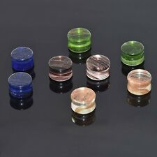 2PCS Natural Glitter Glass Stone Ear Plugs Saddle Flared Tunnel Piercing Gauges