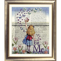 ART PRINT ANTIQUE BOOK PAGE Vintage DICTIONARY Alice in Wonderland Picture Quote