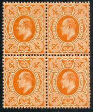 1911 Harrison Perf 15x14, 4d deep bright orange MNH M27(2) block of 4.