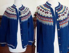 Small Vintage 1960's Husfliden Nordic ethnic zig zag handknit cardigan sweater j