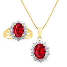Princess Diana Inspired Halo Diamond & Ruby Matching Pendant Necklace and Ring