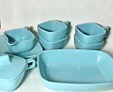 """Vintage Brookpark """"Modern Design"""" Pale Blue Melamine Melmac Lot: 12 Items"""